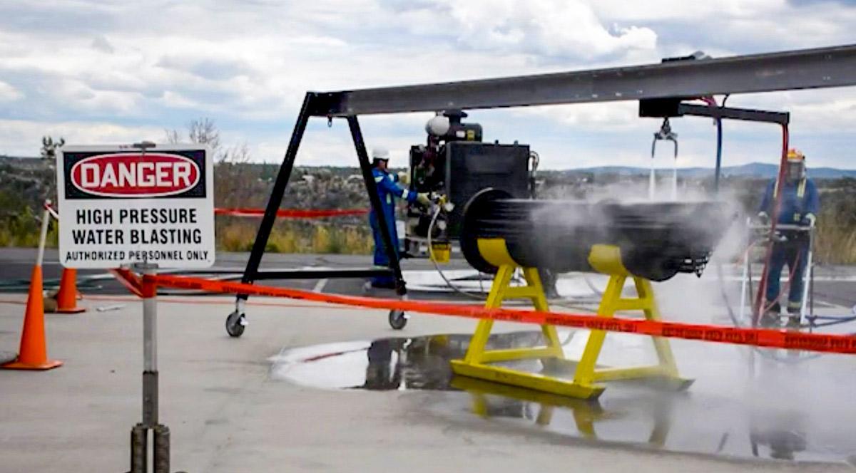 Minimize dangers of high pressure waterblasting