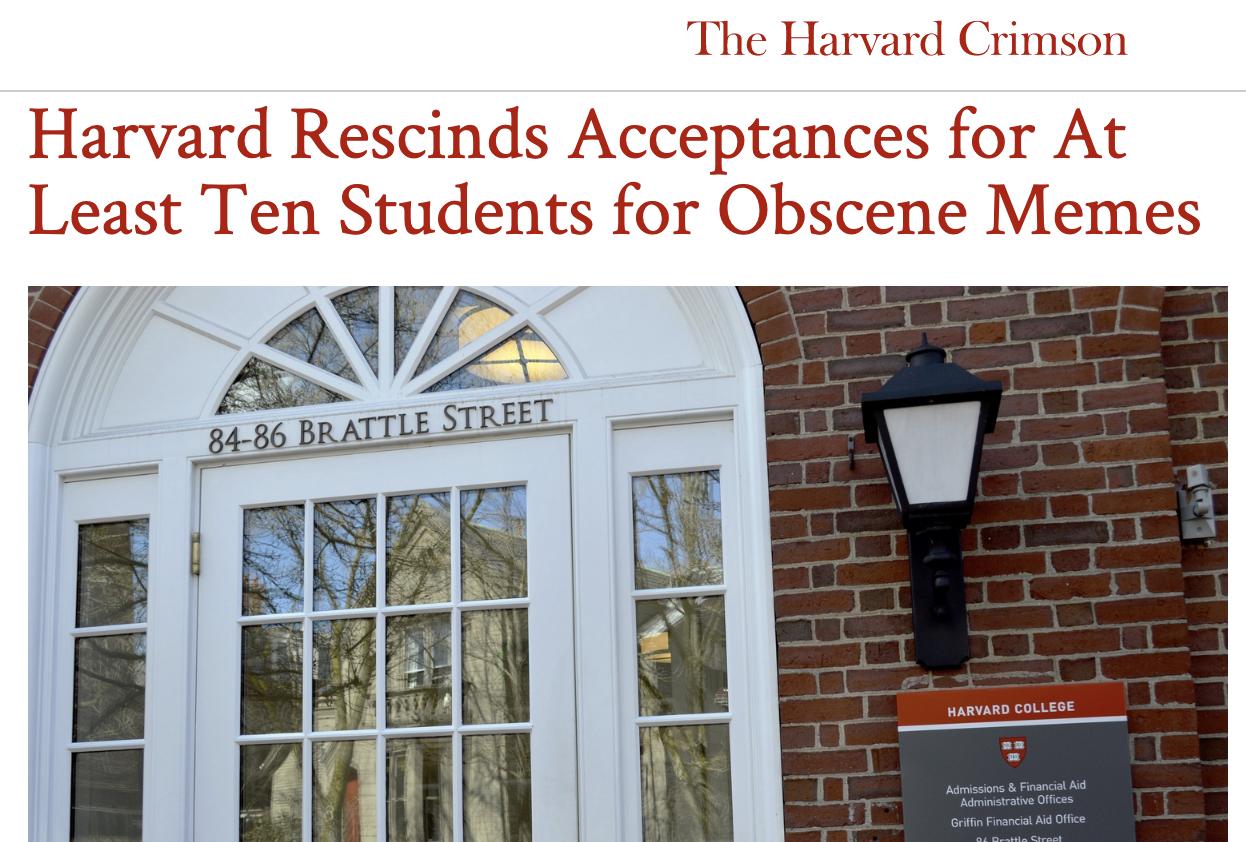 Harvard Rescinds Admissions