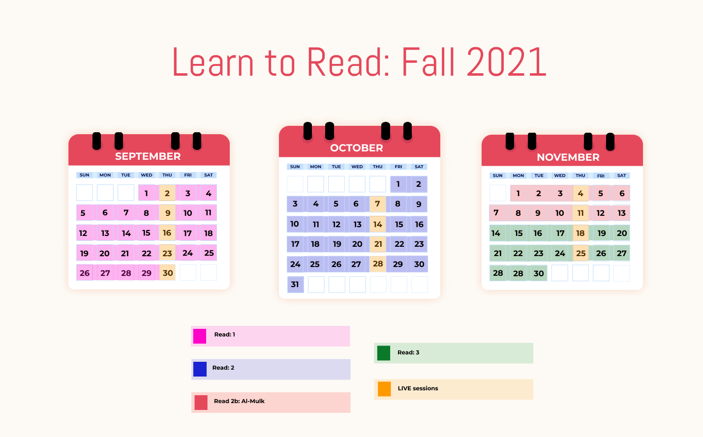 Calendar that shows the three-month timeline of the UQA Summer program