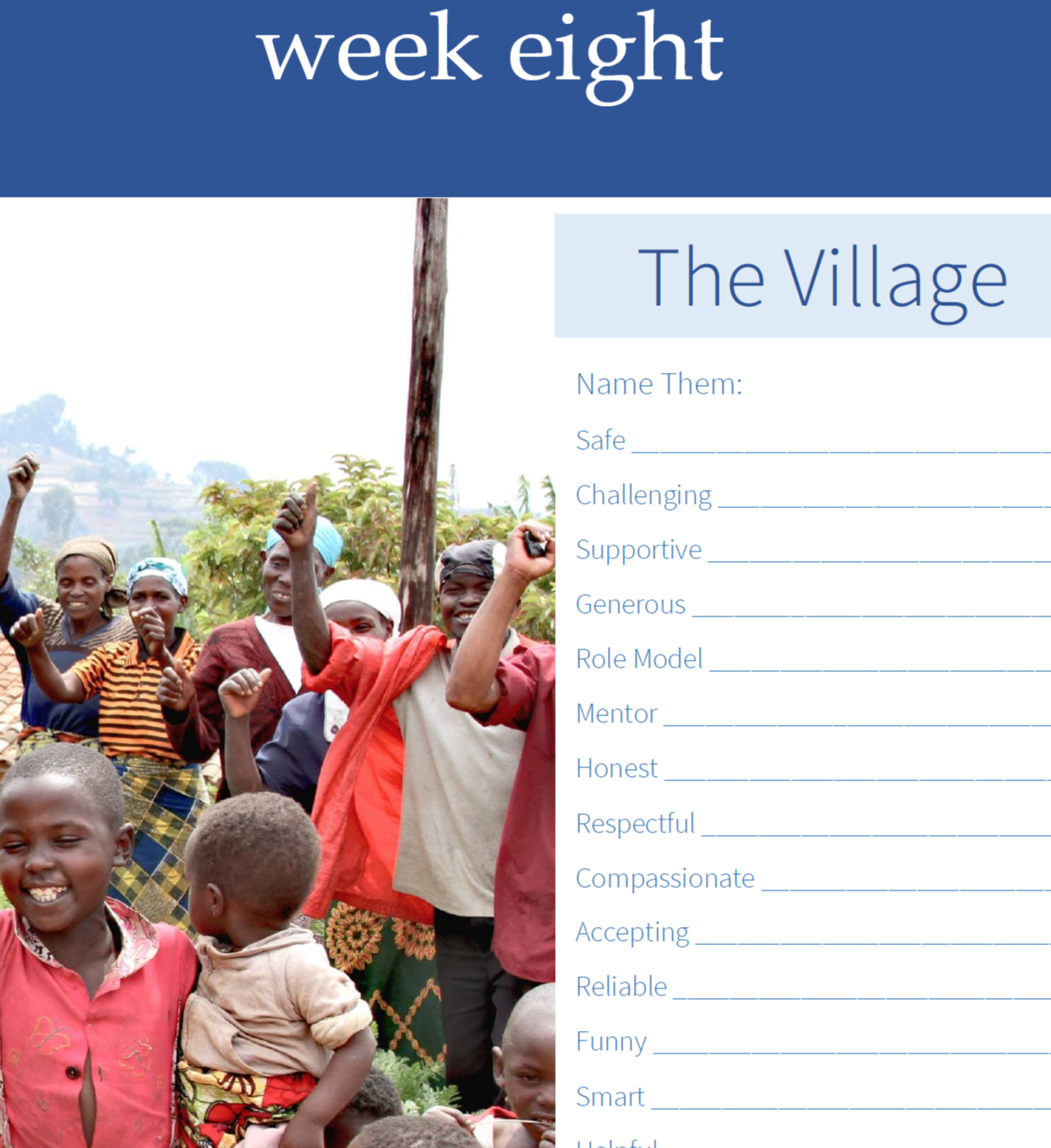 Snip of a page from ReConnect workbook, image of mothers and children, fillable form to name your village