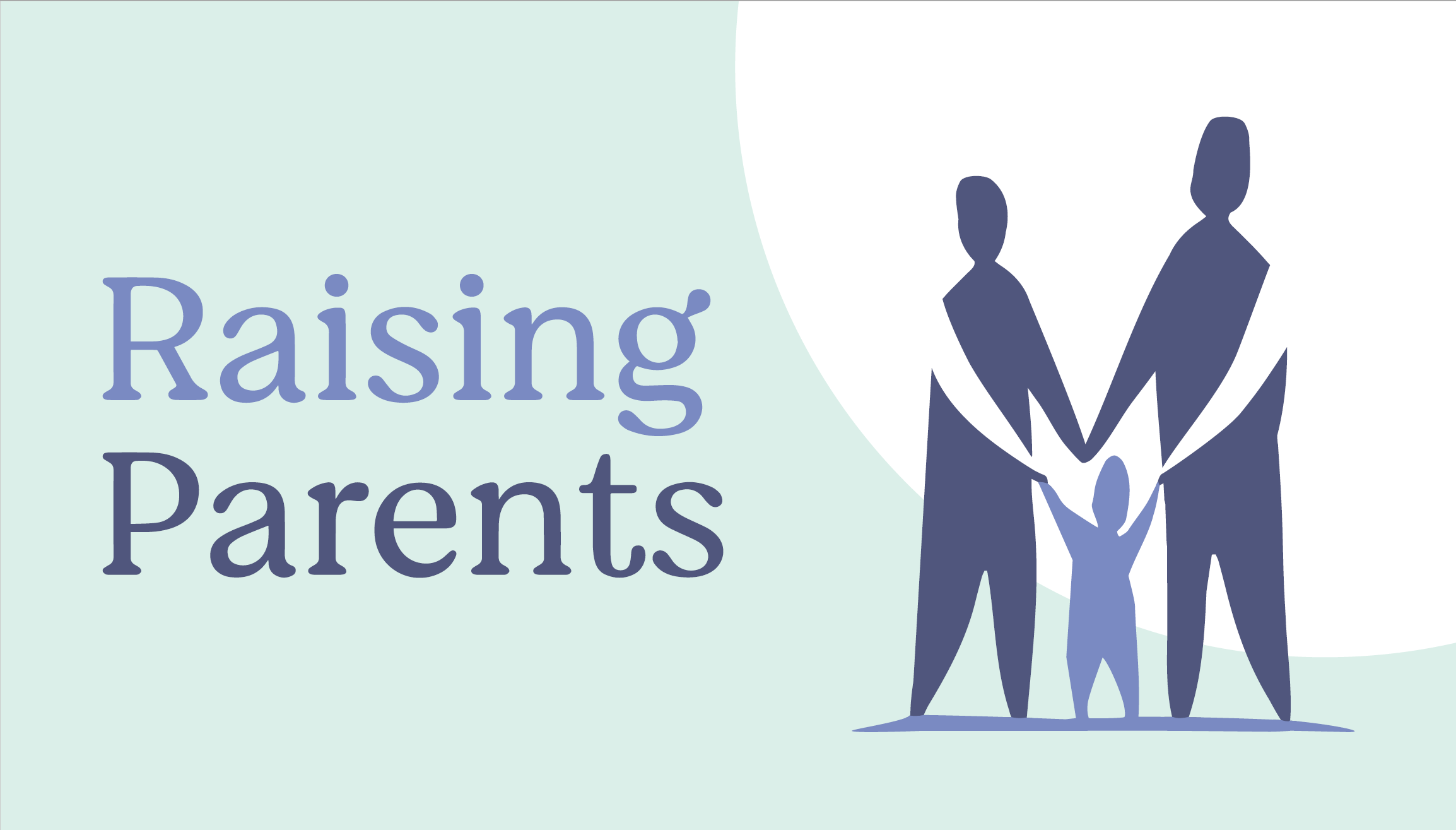 Raising Parents logo, a family in front of a sunrise