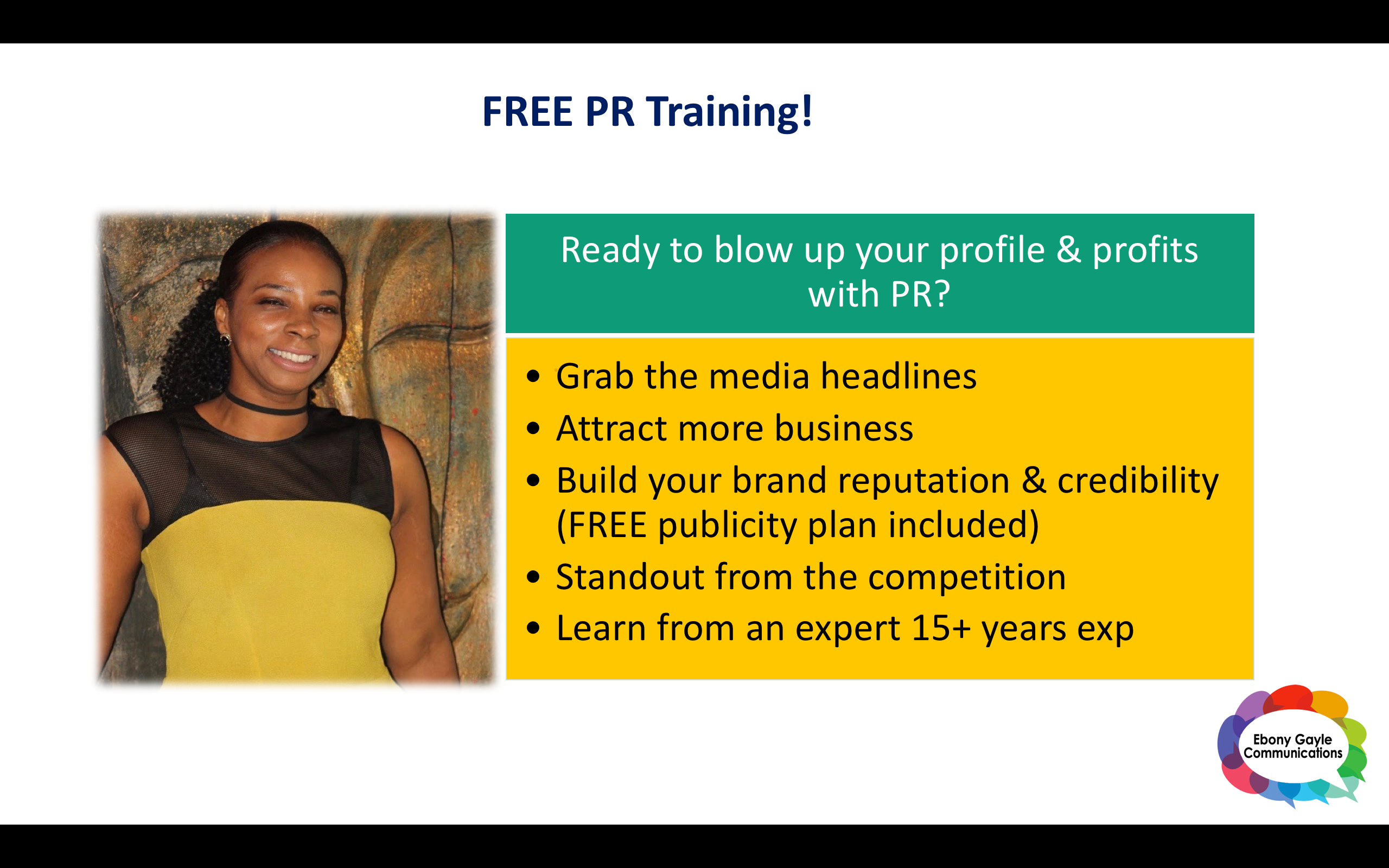 Blow up your profile & profits with PR Webinar - free training