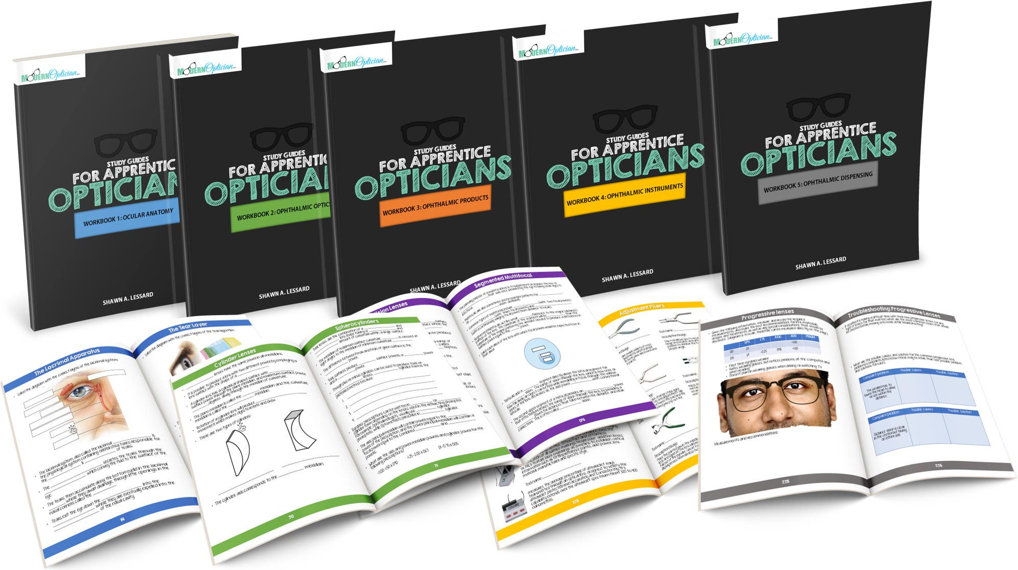 workbooks for apprentice opticians: full color workbooks with fill in the blanks, diagrams and more.  Designed to help student Opticians pass the ABO national optician competency exam !