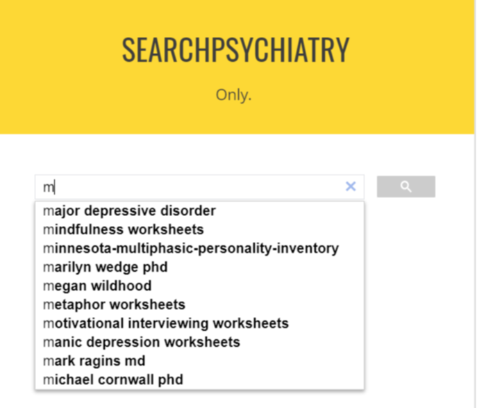 A screenshot of searchpsychiatry home page