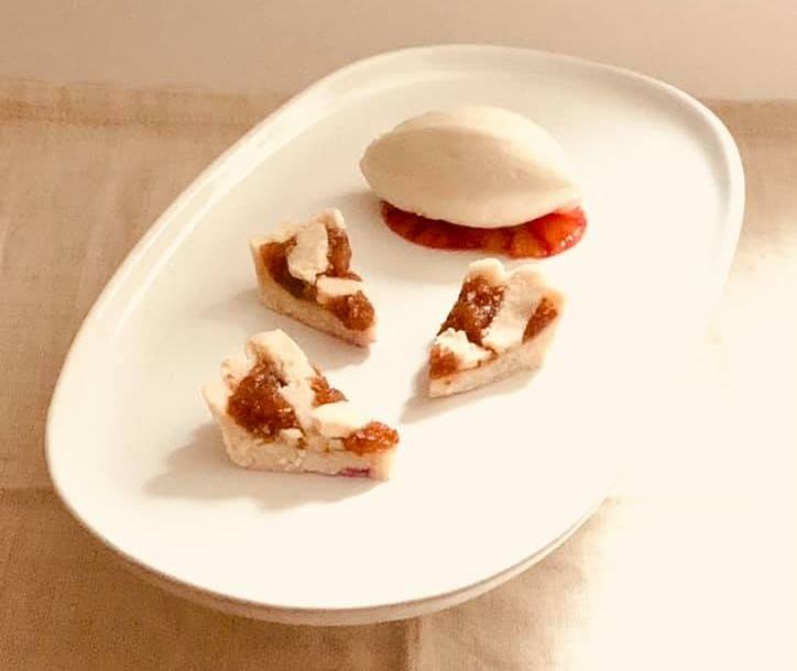 blood orange treacle tart, stem ginger gelato