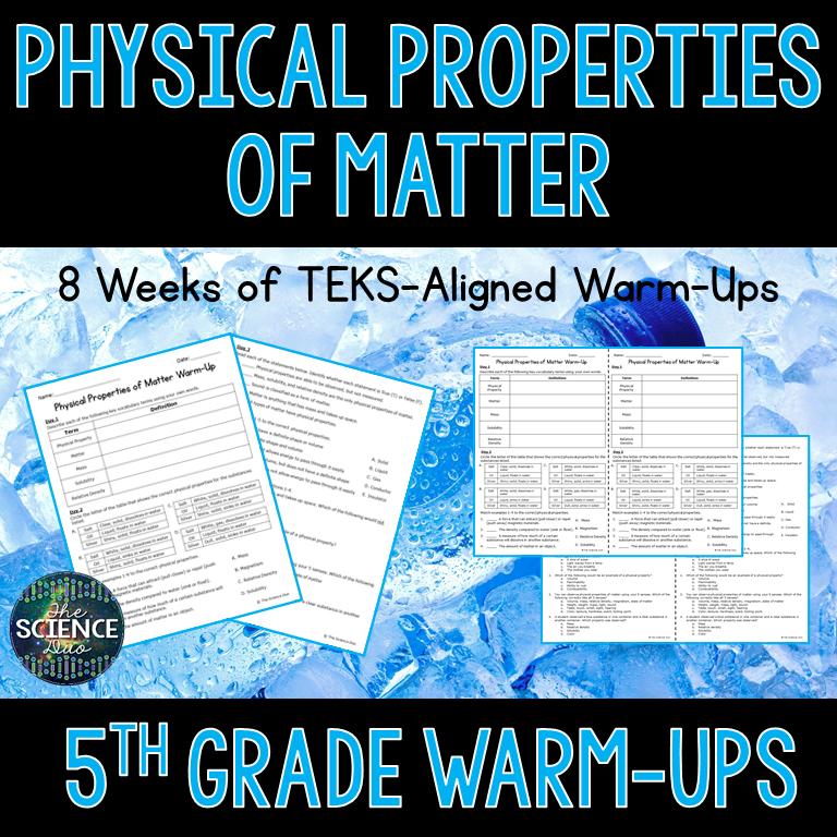 Physical Properties of Matter Warm-Ups