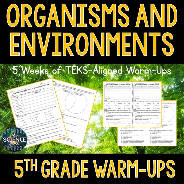 Organisms and Environments Warm-Ups
