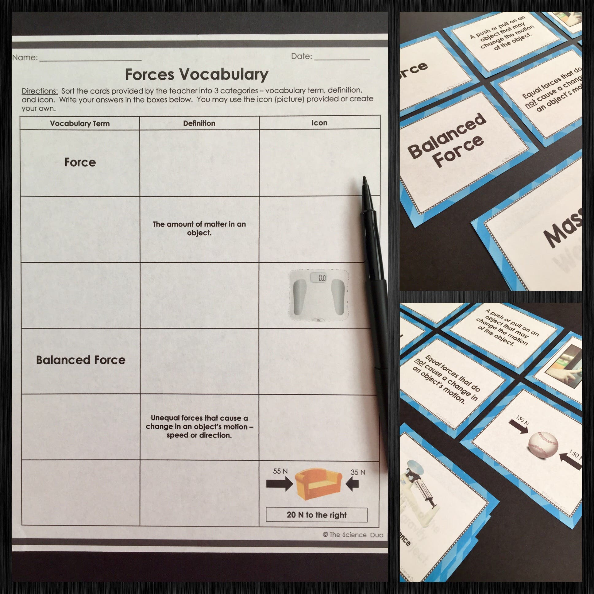 Force And Motion Vocabulary Sort Bundle