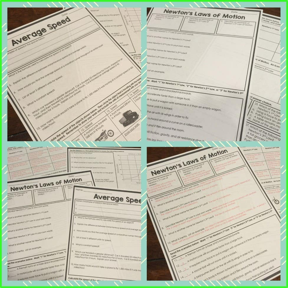 Force and Motion Homework Pages
