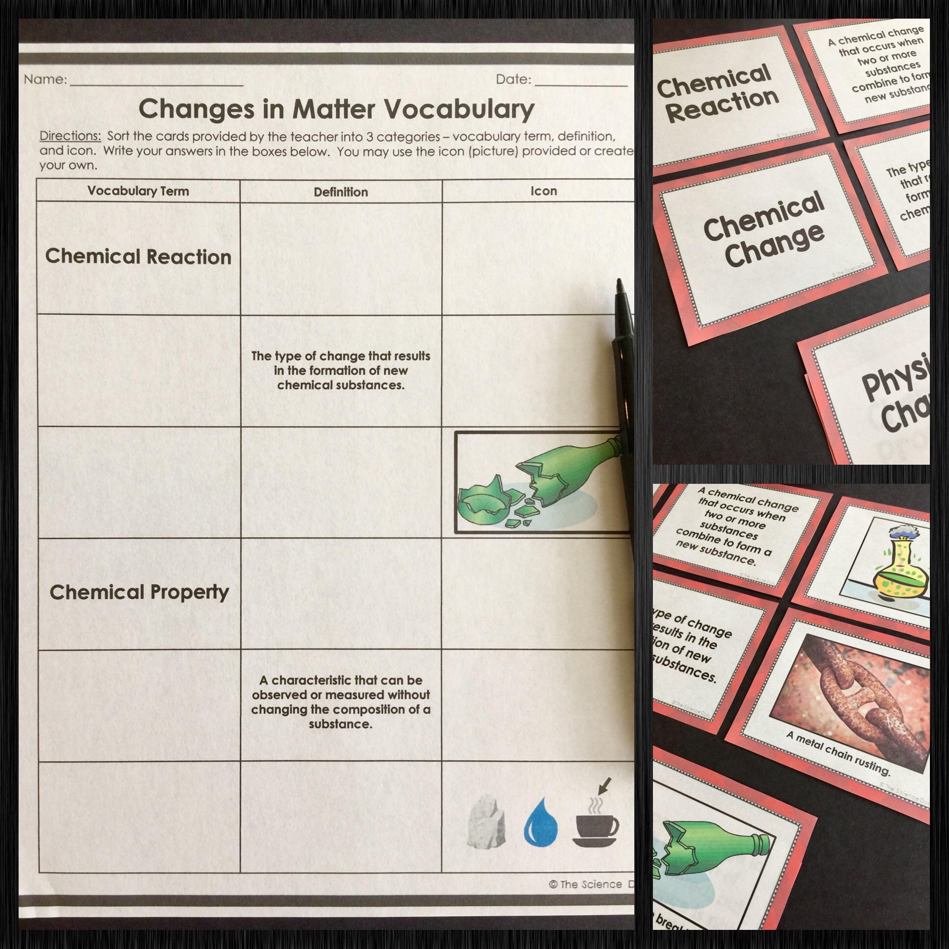 Chemistry Vocabulary Sort Bundle