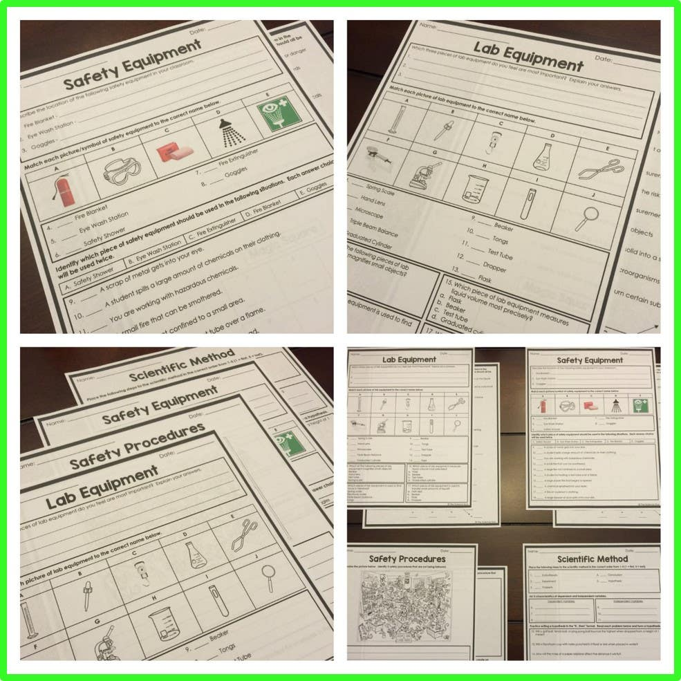 Safety and Scientific Method Homework Pages