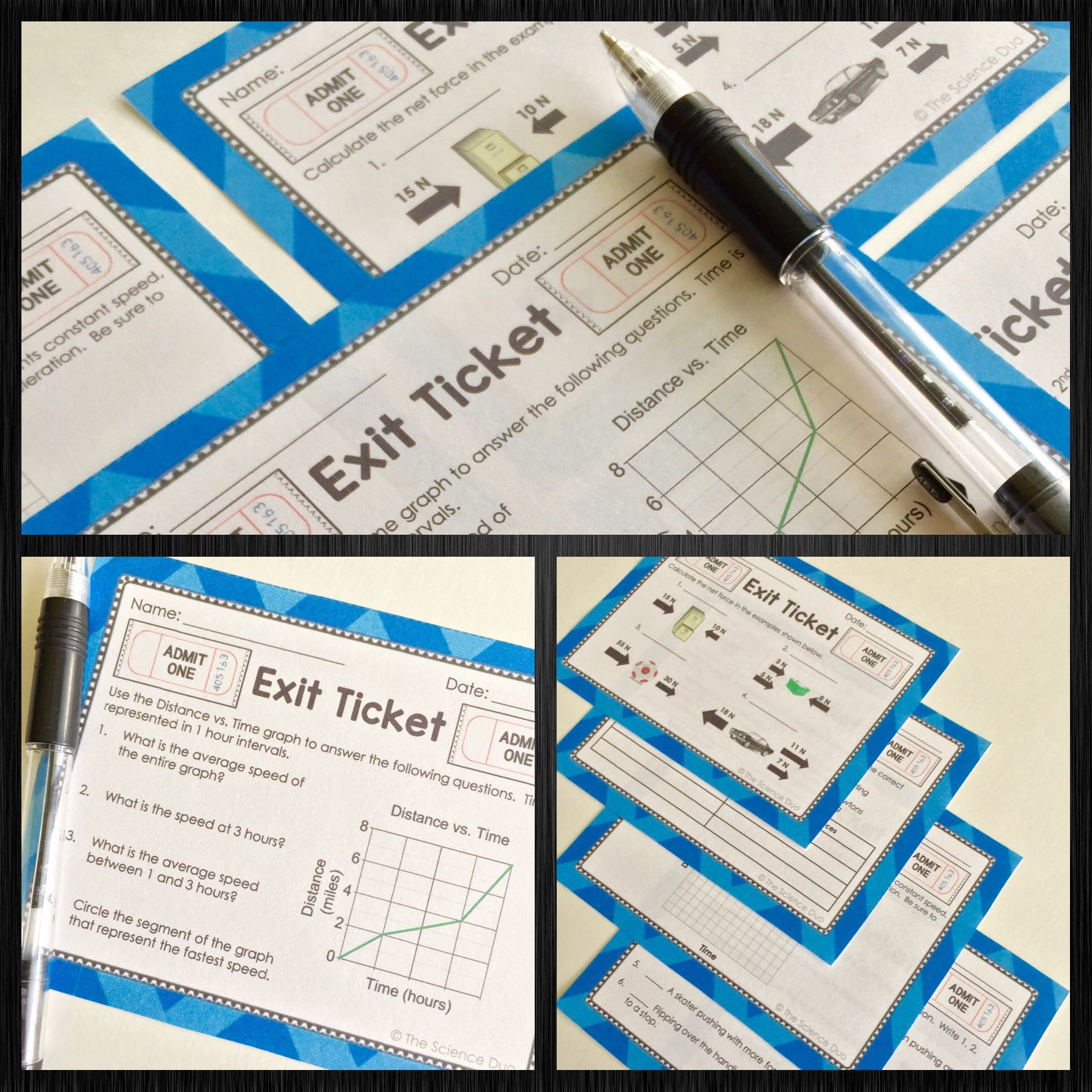 Force and Motion Exit Tickets