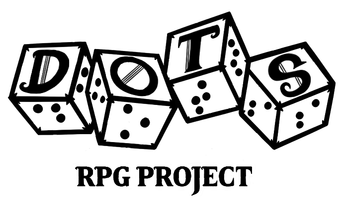 DOTS RPG logo is black outlined text with a transparent background