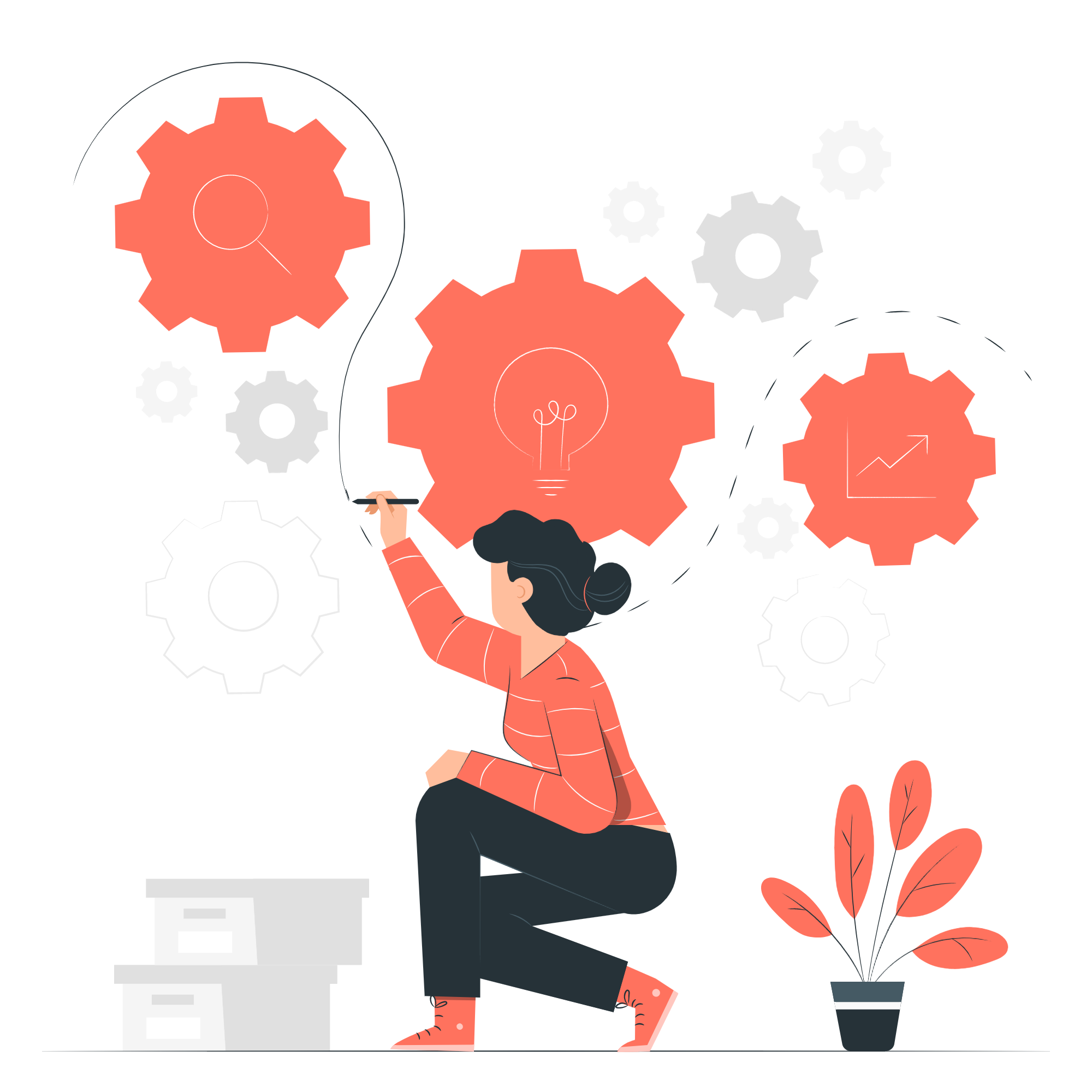 The illustration depicts a woman wearing an orange shirt and dark gray pants. She leans down on one knee as she draws on a wall, drawing a line connecting three gears. In the gears are a search symbol, a lightbulb, and a chart which convey signs of creativity.