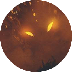 Two yellow eyes peer out of a dragon's scaled face, partially obscured by orange fog.