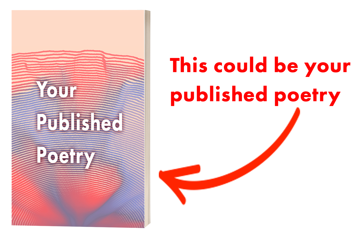 A colorful purple, orange, and yellow swirled book cover reads Flash Fiction February Anthology Filled with Your Stories. A red arrow points to it, with the caption reading