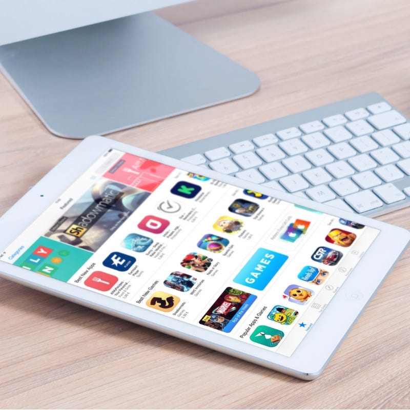 Tablet showing apps in the app store