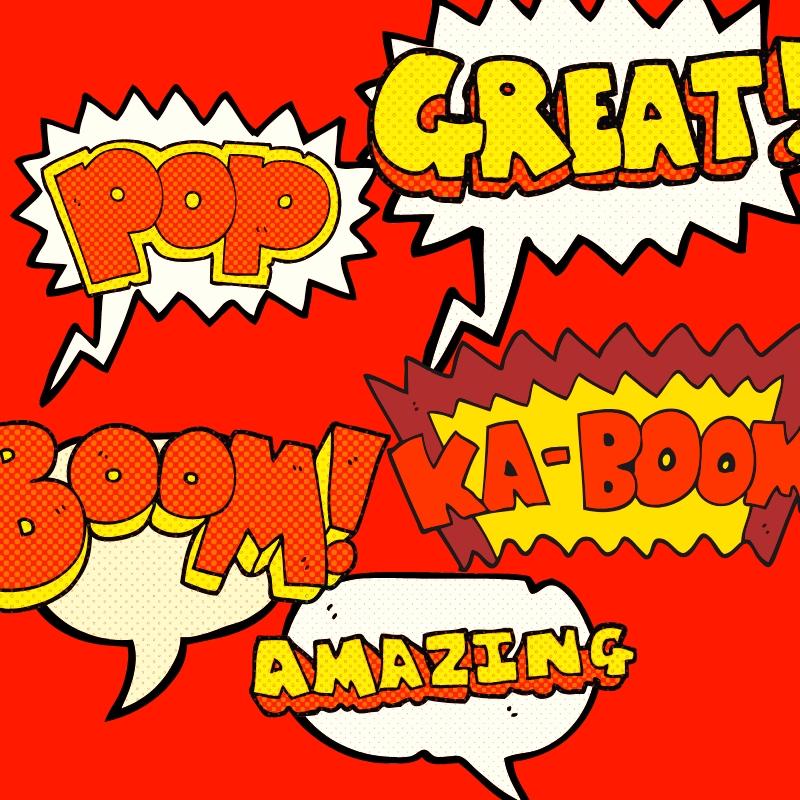 Comic Book Style Artwork in Speech Bubbles