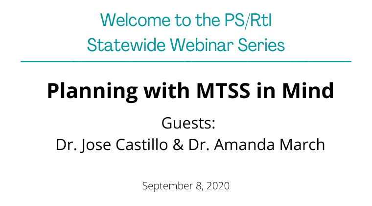 September 2020: Planning with MTSS in Mind
