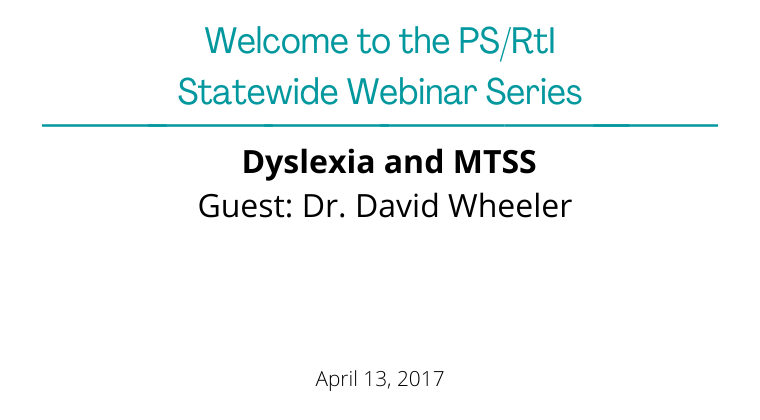 April 2017: Dyslexia and MTSS
