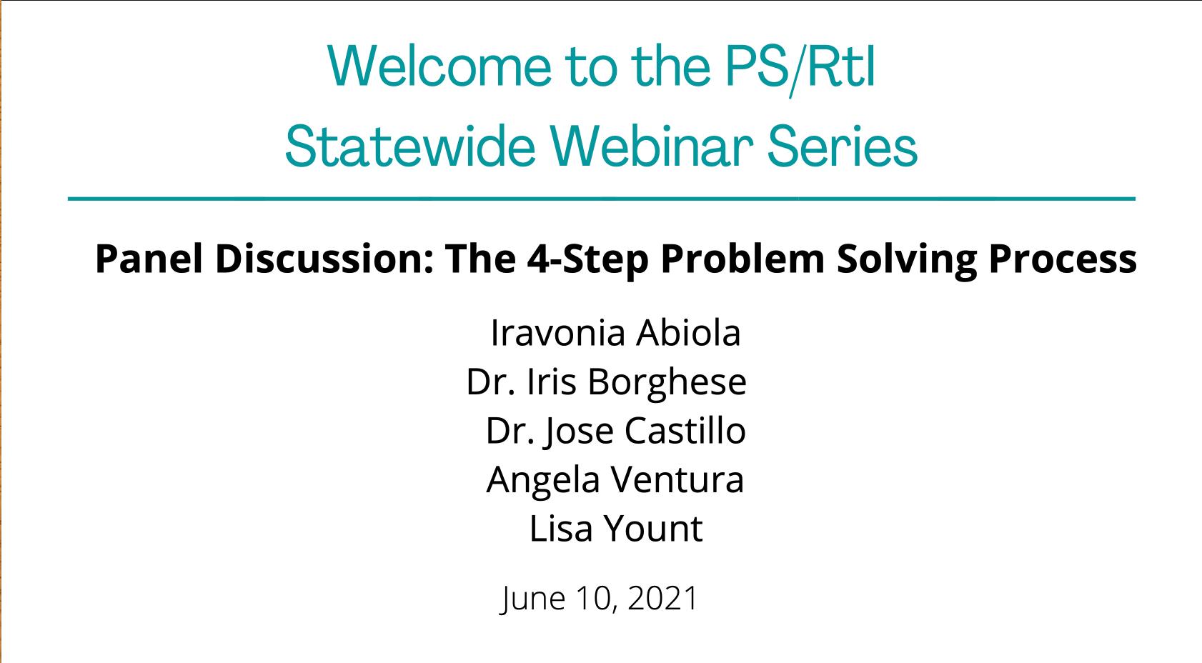 June 2021 Webinar: The 4-Step Problem Solving Process