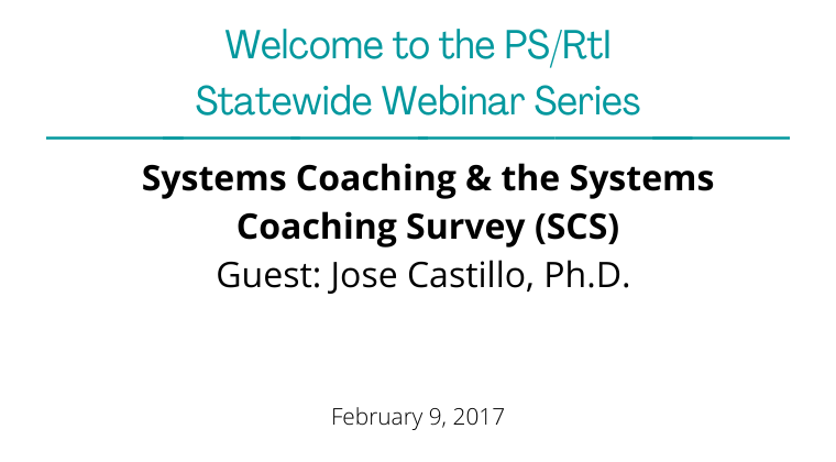 February 2017: Systems Coaching & the Systems Coaching Survey (SCS)