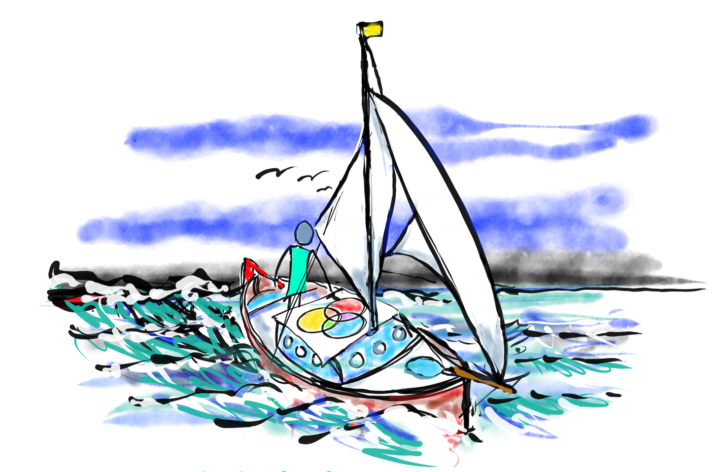 A hand drawn image of a person on a sailboat in the ocean, looking at the Dread, Dreams and Delight Venn diagram.
