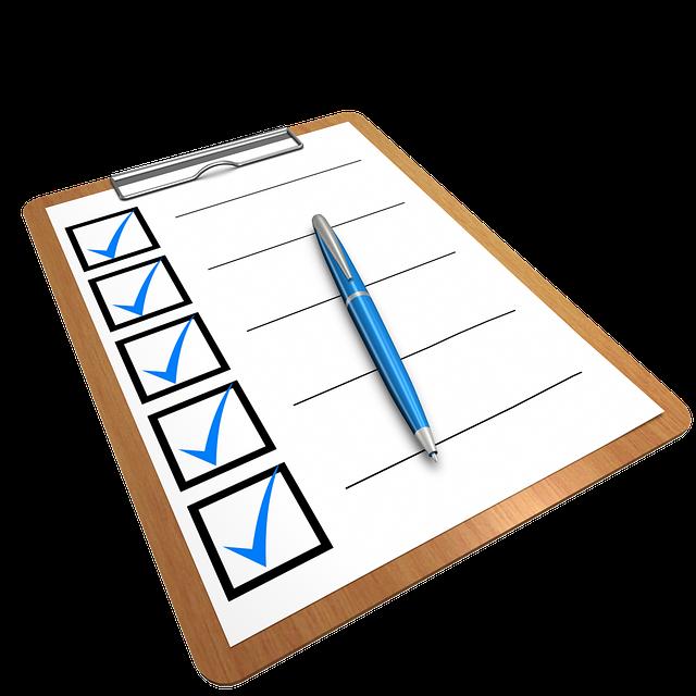 Bilde av en sjekkliste hvor man kan krysse av fremgangen