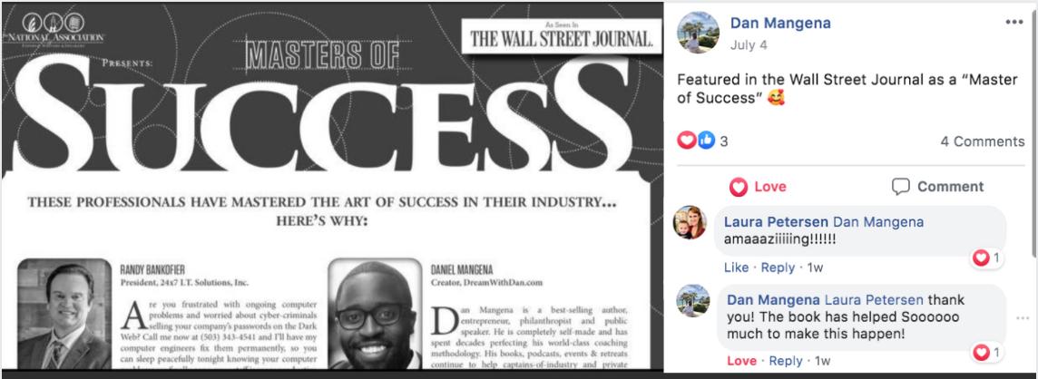 bestselling book client dan mangena featured in wall street journal