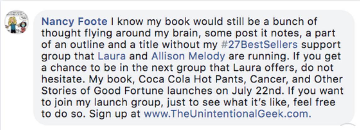bestselling book client nancy foote endorsement