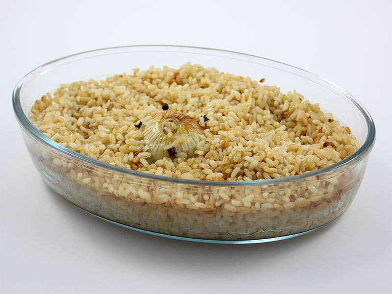 Riso parboiled pilaf in forno