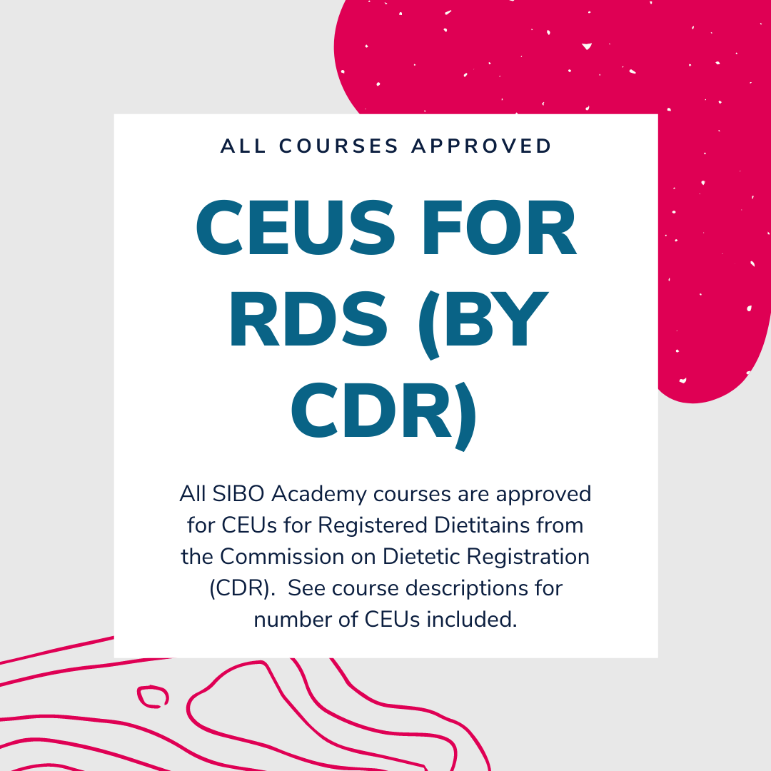 Each seminar is approved for continuing education from CDR.