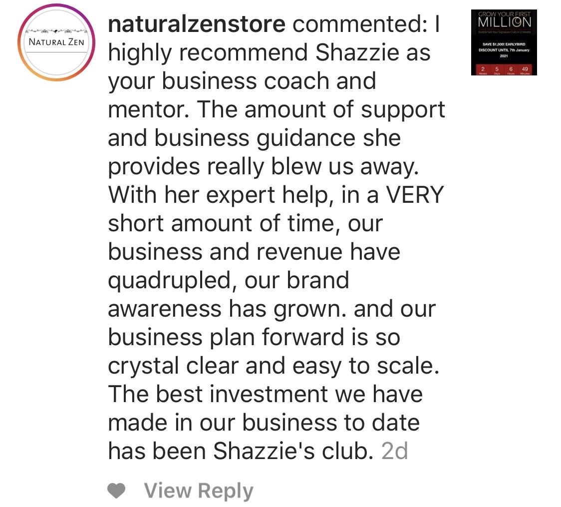 Natural Zen testimonial