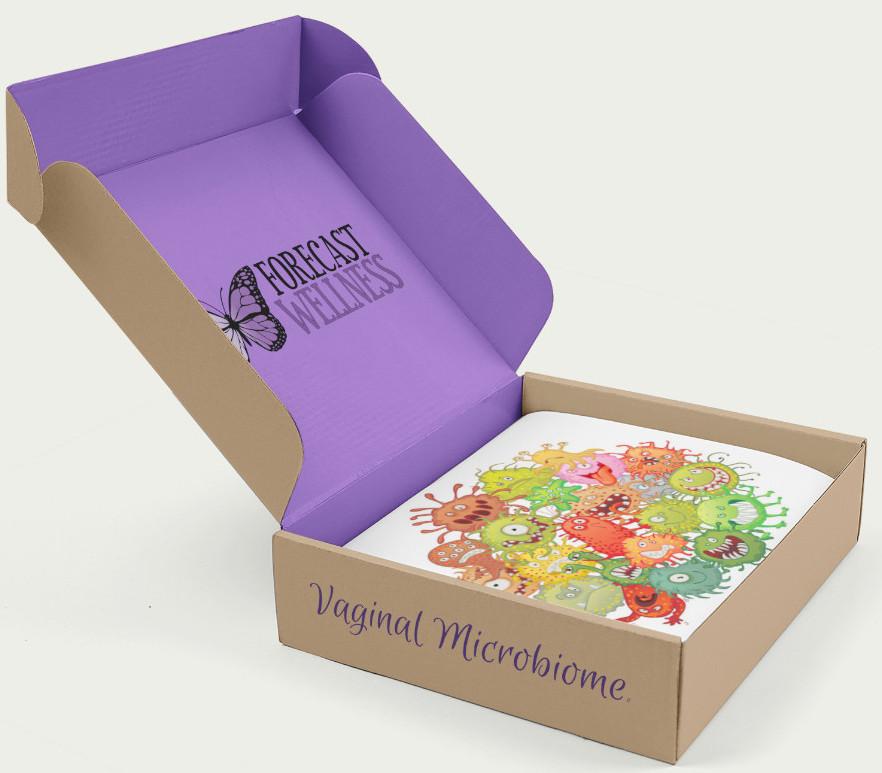 A box of cartoon microbes
