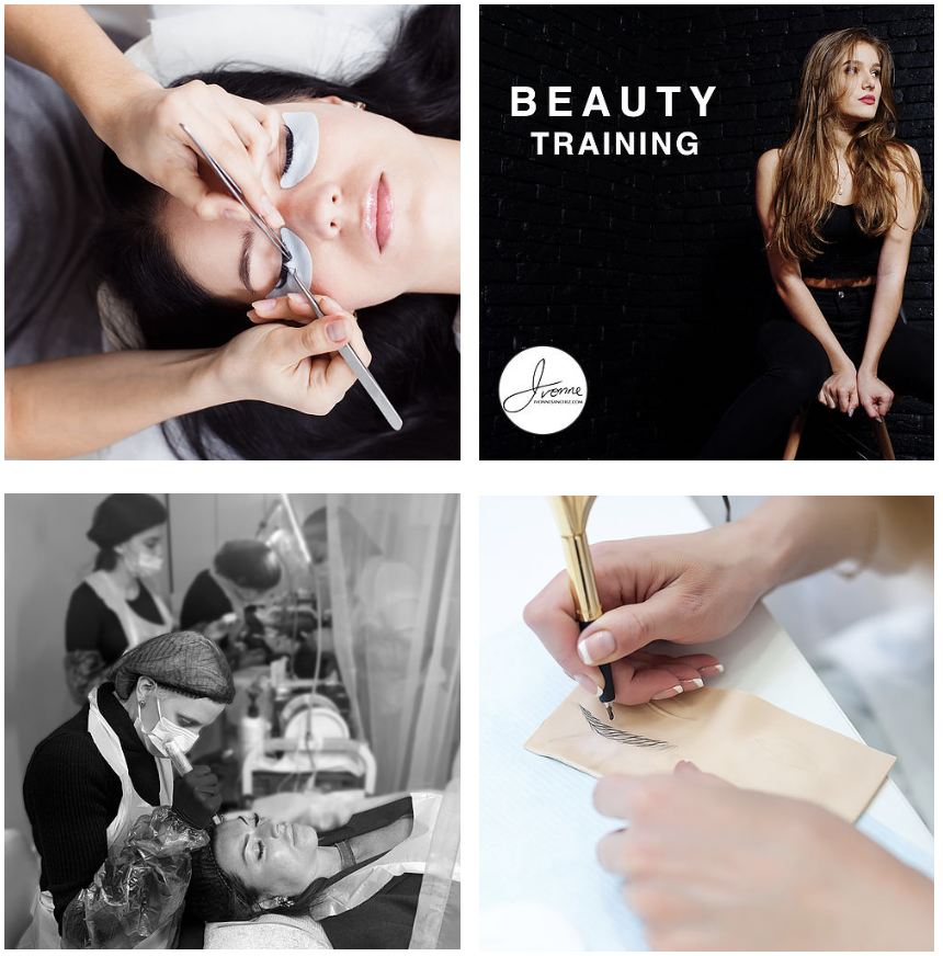 Various models undergoing training or beauty services at Ivonne Sanchez Beauty.