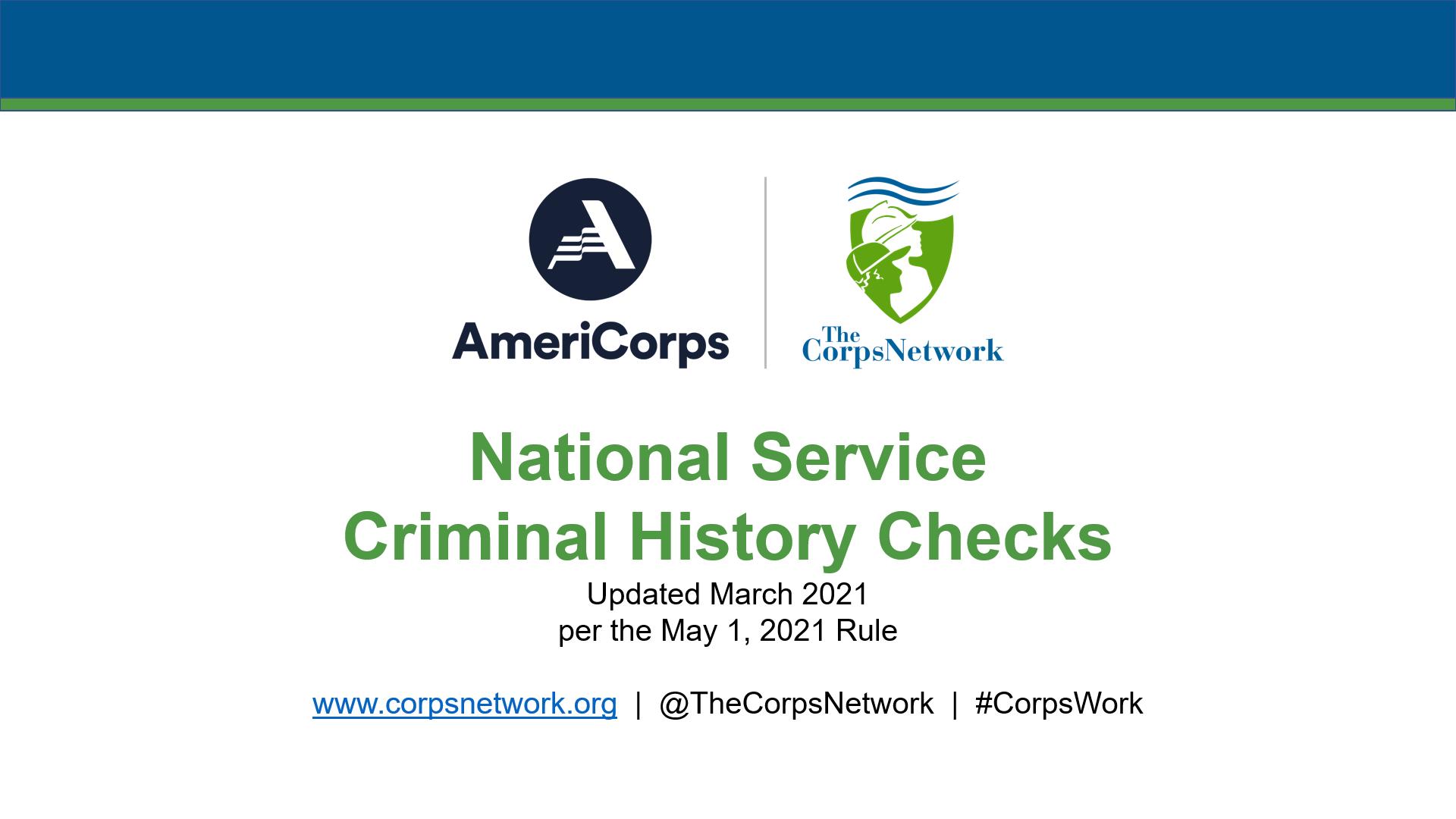 National Service Criminal History Checks
