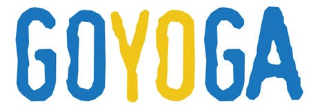 The letters GOYOGA in caps, in the Swedish flags color yellow and blue. GO in blue, YO in yellow and GA in blue. The letters symbolize the ancient force of the yoga wisdom.