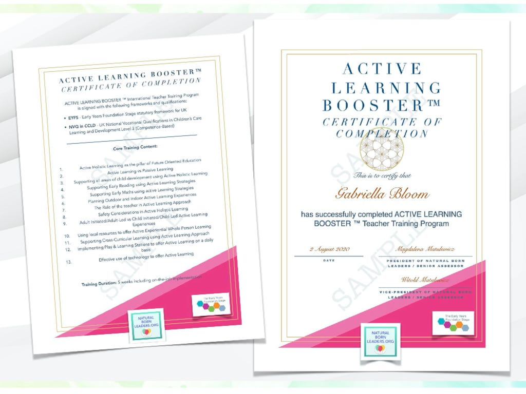 Active Learning Booster Certificate - by Natural Born Leaders
