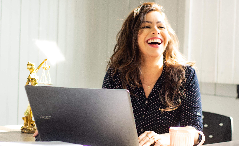 Woman Smiling Working Communicating