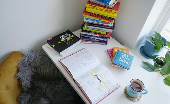 Desk books coffee preparation
