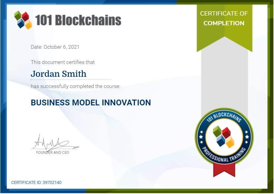 Business Model Innovation Course Completion Certification