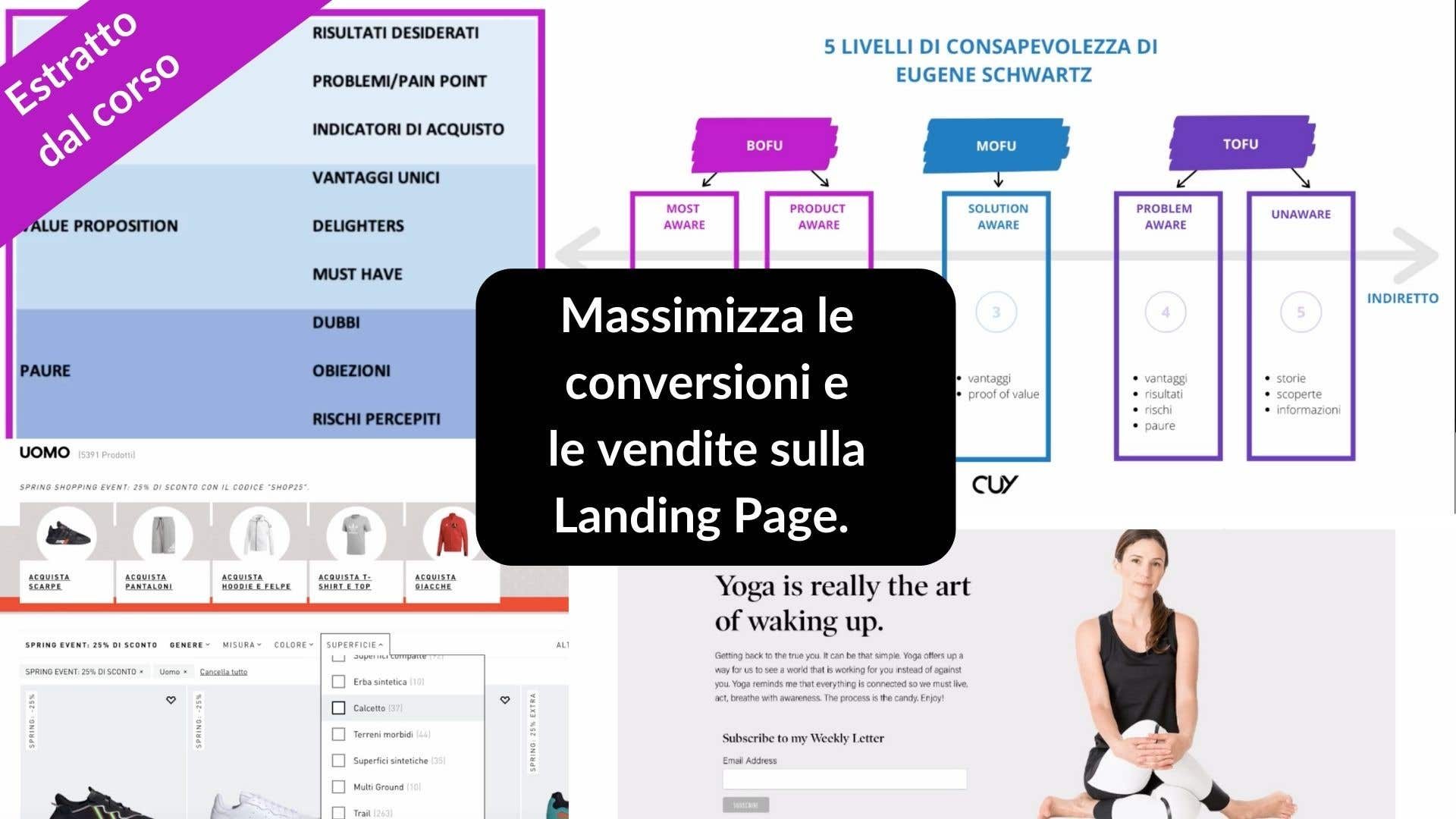 Estratto dal corso online su copywriting persuasivo, un set completo di documenti usati da Copywriter professionisti.