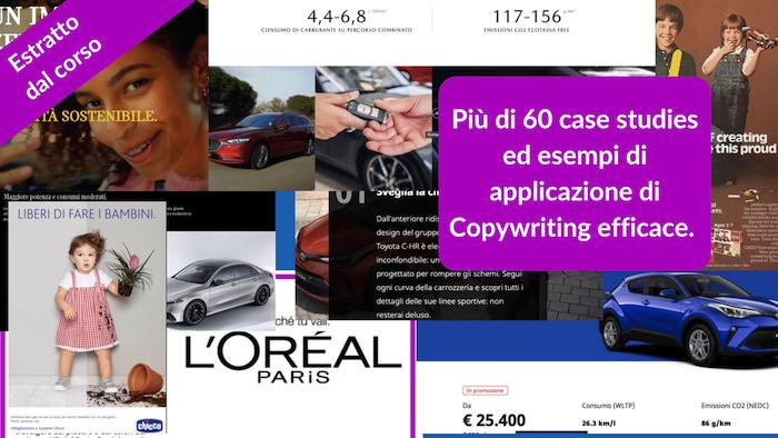 Estratto dal corso online su copywriting persuasivo, più di 60 case studies