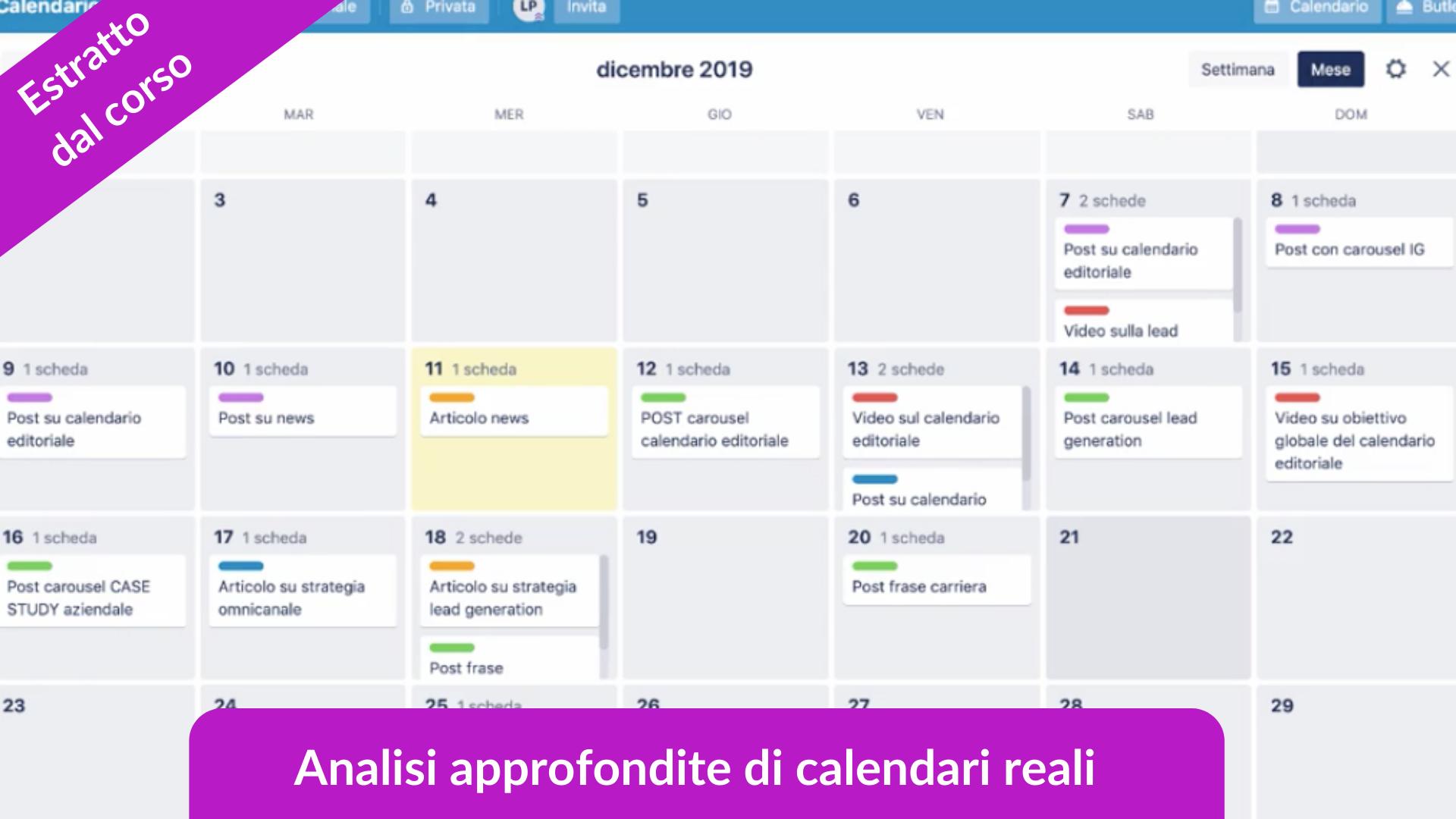 Estratto dal corso online sul calendario editoriale, analisi di calendari reali