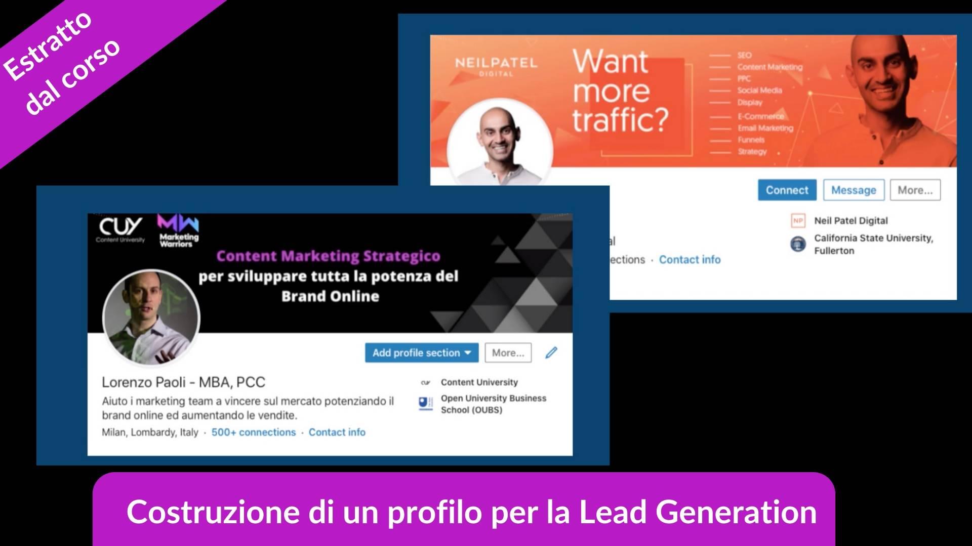Estratto dal corso la lead generation con LinkedIn, come costruire il profilo