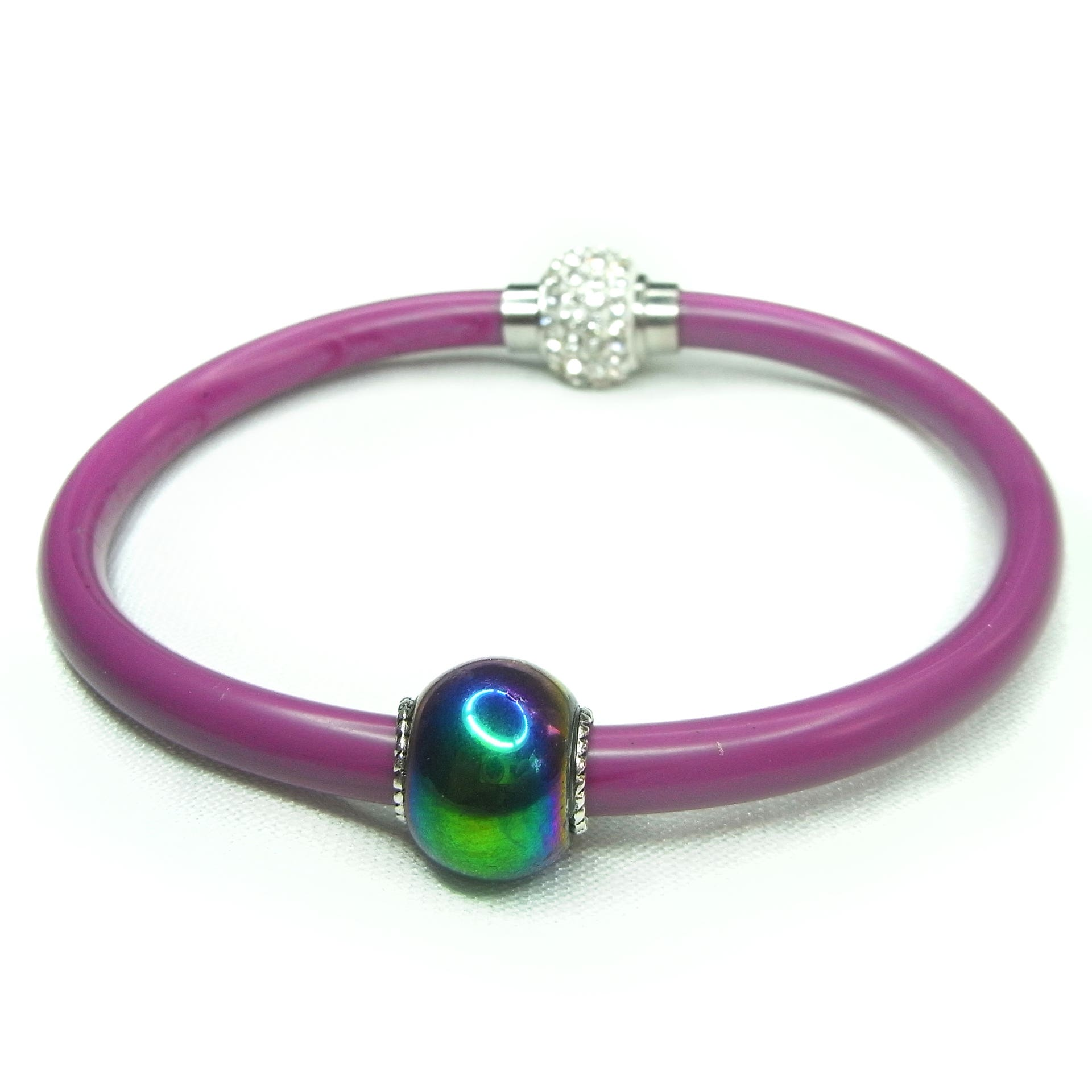 Royal purple resin bracelet with vitrail coloured bead and sparkly crystal encrusted clasp.