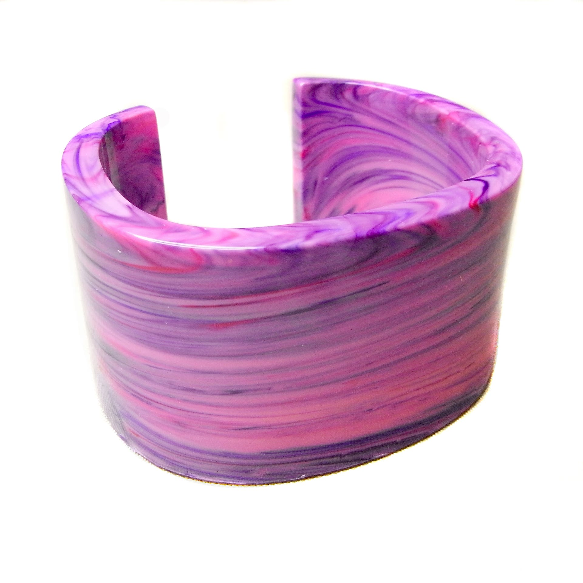 Marbled pink and purple glossy cuff