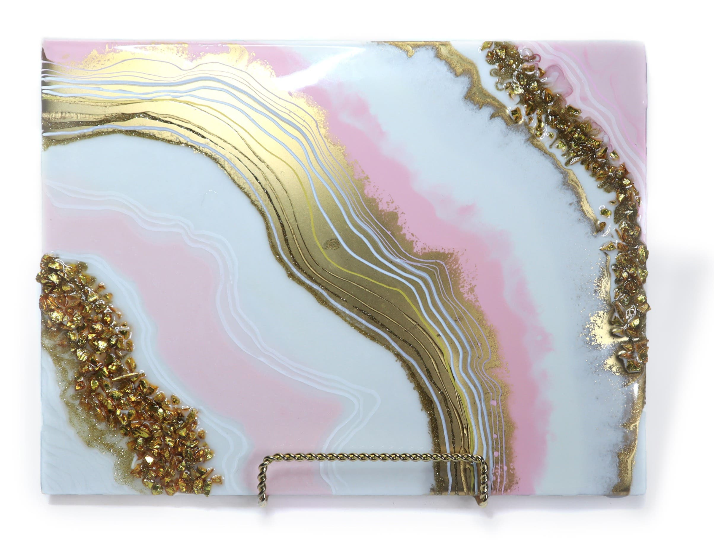 pink, gold and white geode inspired resin painting with bands of pink, gold and white resin and contours of gold glass chips