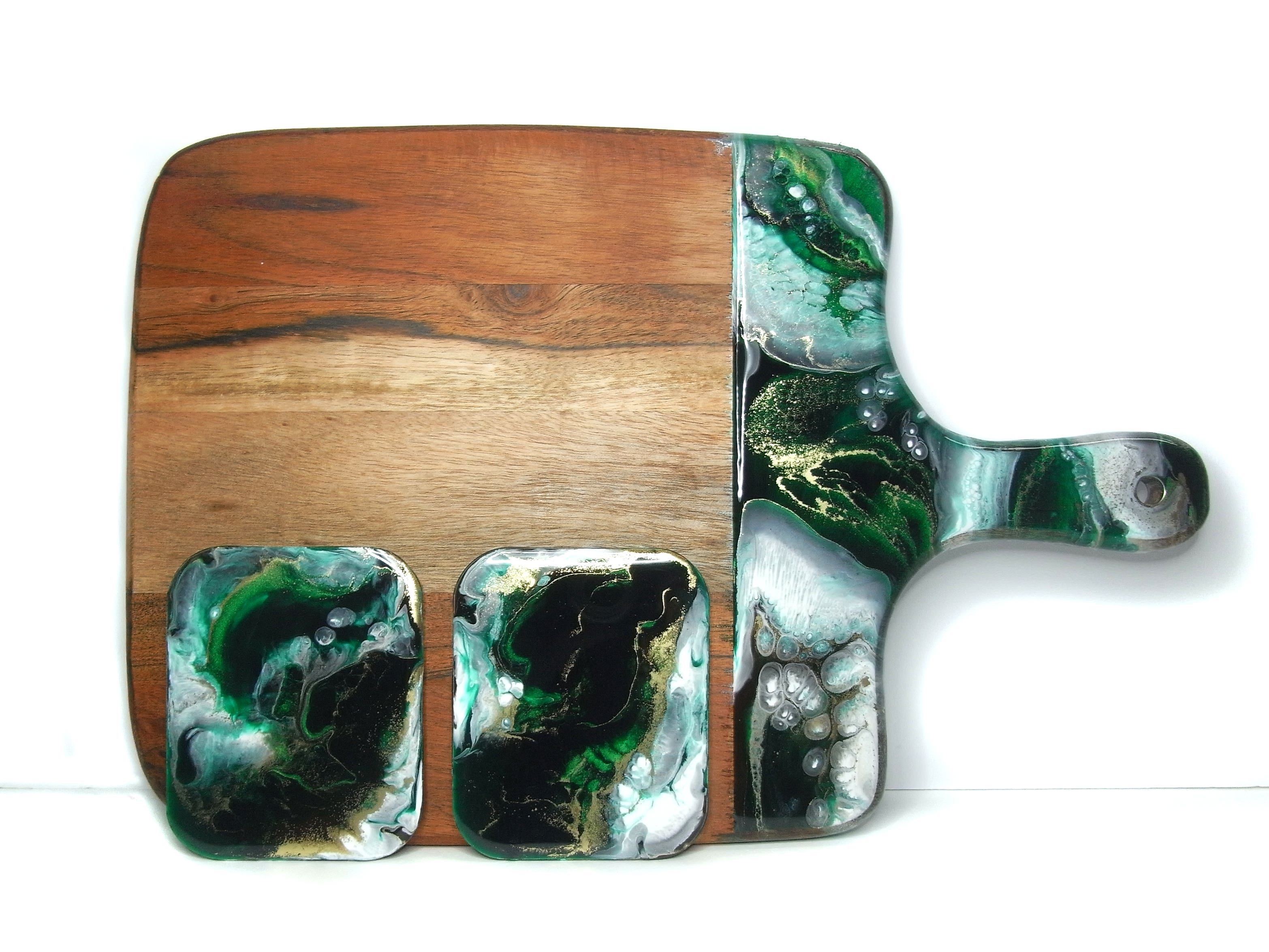 Square Wooden Cheese Board with marbled green, gold and white resin handle and a pair of rectangular, matching resin coasters