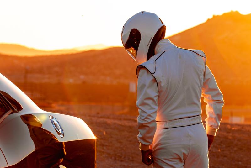 racing driver preparing
